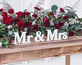White Mr Mrs Wooden Signs, Wedding Decorations, Wedding Table Signs, Wooden Wedding Decorations, Rustic Table Decor, Wedding Signs