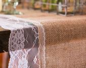 Burlap Table Runner With White Lace Edging 3 Metre Long Rustic Style Table Runner