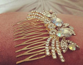 Hand made repurposed vintage hair comb accessory beautiful crystal gold floral leaf design vintage bride wedding bridal headwear AB crystal
