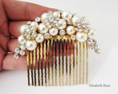 Ivory Pearl and Crystal Wedding Hair Comb, Pearl Hair Comb for Wedding, Gold Hair Comb for Bridal Hair Bun, Wedding Day Pearl Hair Comb