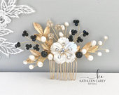 Bridal hair piece, Gold black hair comb, Mother of pearl, Freshwater pearls, Flower comb, Hair accessories for wedding , Crystal comb.