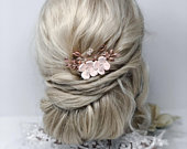 Light Pink Flower Hair Comb, Periwinkle, Hydrangea, Blossom, Forget me Not, Blush Pink , Peach Pink Bridal Comb , Rose Gold Wedding Comb