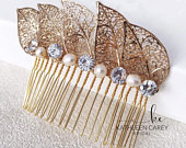 Bridal hair accessories Gold leaf headpiece with freshwater pearls and fine crystals Wedding hair comb Leaf hair piece Bridesmaids comb