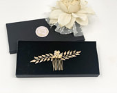 Golden Leaf Hair Comb, Gold Flower and Leaf Hair Piece, Bridal Hair Comb, Wedding Hair Comb, Gold Bridal Accessories