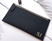 Personalised monogram purse, bridesmaid pouch, black gold purse monogrammed purse, customised bags, bridal party purses gift, initial clutch