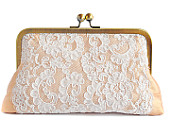 Blush and ivory purse, pastel clutch, bridal purse, ivory lace clutch, romantic purse, rustic clutch, wedding purse, antique gold frame bag