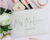 Personalised MRS Est Clutch Bag Bride Purse Unique Gift For The Bride Bridal Shower Gift Future Mrs Clutch Bag Wifey Bag Bride