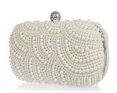 Beautiful Classic Vintage Pearl Clutch Bag, Bridal Bag, Wedding Bag Champagne, Cream, White or Ivory Deluxe Party or Event Clutch Bag