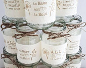 12 wedding jars, rustic hand printed, calico fabric centrepiece, twine vase tealight country wedding table decor BRAND NEW