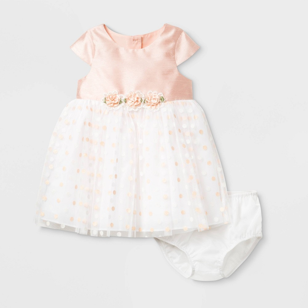 Mia & Mimi Baby Girls' Polka Dots Lacquer Dress with Diaper Cover - Coral 24M, Girl's, MultiColored