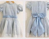 True MINI (Age 3) Vintage Baby Toddler Child British UK 1950s Handmade Pastel Blue Bridesmaid Occasion Fit and Flare Bow Back Dress Aged 3