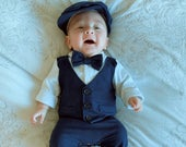Baby Boy Christening Wedding 1pc All in One Navy Linen Blend Short Outfit Set with Hat