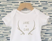 Personalised Kids Wedding Outfit Custom Rustic Wedding Baby Outfit Newborn Baby Deer Antler Nature Theme Summer Spring Engagement Outdoors