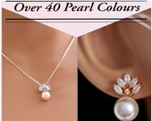 Leaf crystal and Pearl stud earrings, rose gold, silver, clip on or pierced, sparkly bridal jewellery, bride, mother of the bride, swarovski