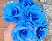 6 x Royal Blue Paper Roses, Handmade Paper Flowers Forever Flowers, Table Decoration, Wedding Flowers, Home Decor