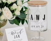 Personalised Glass Wishing Well Jar With Geometric Style Monogram Design Unique Wedding Guest Book Alternative