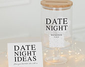 Personalised Glass Wishing Well Jar With Date Night Design Unique Wedding Guest Book Alternative