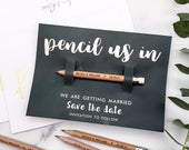 Pencil Us In Save the Dates Personalised, Wedding Invitations, Engraved Pencil, Rustic Save the Date, Wedding Invites, Wood Save The Dates