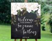 white rose wedding sign, white rose welcome sign, welcome wedding sign, digital wedding sign, chalkboard welcome sign, 16x20, 18x24, 24x30