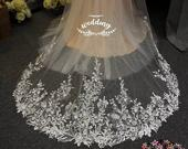 Cathedral Wedding Veil with EmbroideryIvory Bridal VeilIvory VeilIvory VeilIvory Wedding Veil with comb Cathedral Ivory Wedding Veil