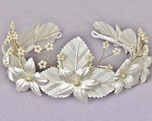 Bridal Floral Crown Bridesmads Tiara Headpiece Flower Girl Headdress PEARL IVORY and GOLD