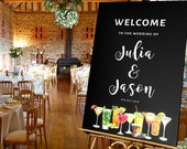 Wedding Welcome Sign, Personalised Welcome Wedding Sign, Party Welcome Sign, Cocktail theme Sign, Party Seating Sign, Birthday Welcome Sign