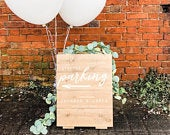 A frame, double sided, personalised wedding welcome sign, wedding parking, wedding this way, road side sign