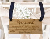 Personalised Wedding Memorial Sign Personalized Reserved Seat Plaque In Loving Memory of Family Rustic Engraved Wooden Hanging Heart