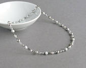 Silver Grey Pearl and Crystal Necklace Pale Grey Beaded Necklaces Beaded Mother of the Bride/Groom Jewelry Light Gray Gifts for Women