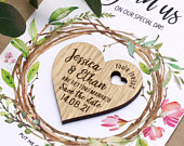 Save The Date Magnet Cards, Unique save the date cards, Boho wedding magnet, Fridge rustic savethedate magnet, Wood save the date heart