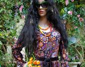 Gorgeous Vintage 1970s Psychedelic Orange and Purple Flower Power and Abstract Paisley Maxi Dress by Berkertex