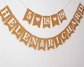 Personalised wedding bunting, Engagement party decorations, Save the date bunting Banner