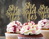 She said yes cupcake topper, 12 pieces, hen party decor, engagement, bride to be, bridal shower, wedding cupcake toppers, Bachelorette party