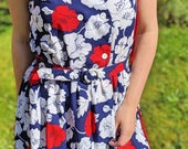Floral Vintage Sleeveless Dress, 1970s Floral Day Dress, 70s Boho Belted Casual Dress, Vintage CA Blue Red Midi Dress, White Flowers Print