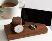 Personalised Walnut Bedside Watch And Phone Stand / Gifts For Dads / Watch Holder / Cellphone Stand with watch and Ring Storage