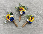 Sunflower Boutonnire, Wedding Boutonniere, Groomsmen Lapel Pin, Sunflower Buttonhole, Sunflower Corsage, Rustic Wedding, Autumn summer
