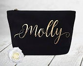 Makeup Bag Cosmetic Bag 100% Cotton Canvas Wedding Thank You Gift Gifts for Her Niece Gift Aunt Auntie Gift A1B