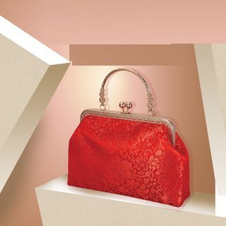 Chinese Wedding Clipframe Handbag Multicolour Flower - Red - One Size