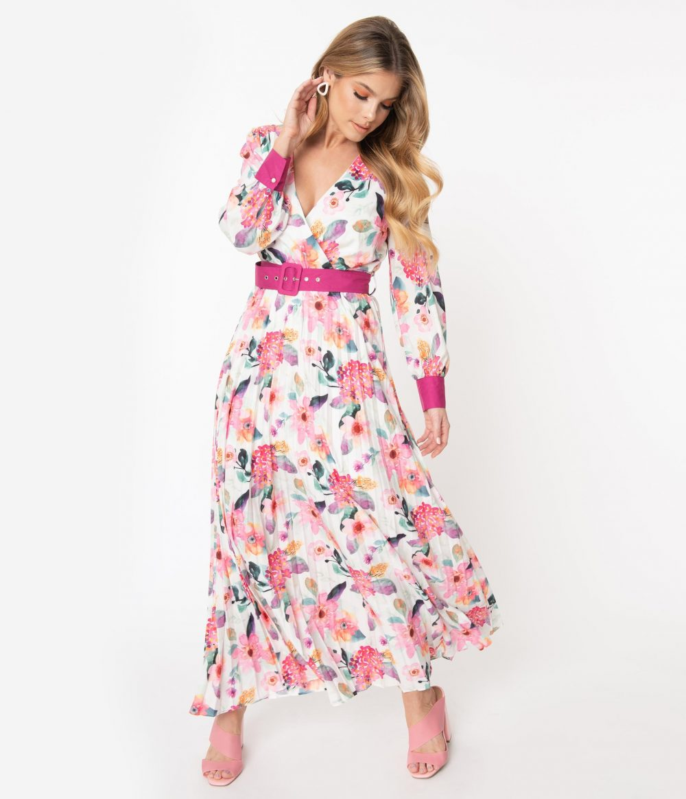 1970S Ivory & Pink Watercolor Floral Print Belted Maxi Dress