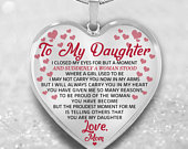 To My Daughter From Mom Mother Heart Necklace Engraved Daughter High School Graduation Loved One Name Wedding Date, Anniversary, Birthday
