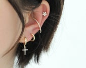 10mm earrings for tragus or cartilage piercings. 925 sterling silver available with or without 14k gold plate, with or without cross pendant