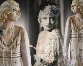 Art Deco Downton Abbey Vintage Embellished Beaded Cream Silver Gold Floral Dress Evening Gown Size UK 10 US 6