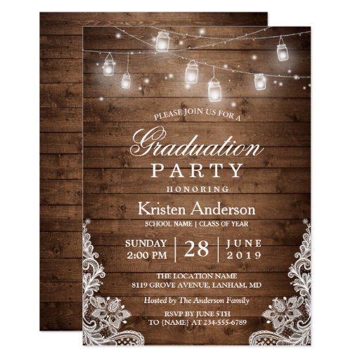 Rustic Wood Lace String Lights Graduation Party Invitation