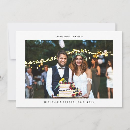 Love and Thanks Simple Wedding Photo Thank You Card