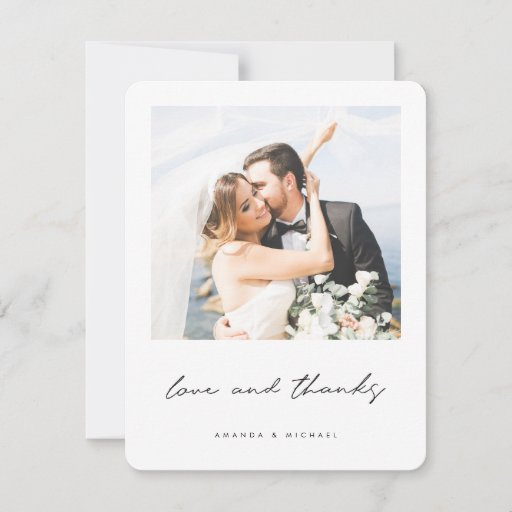 Love and Thanks Black White Border Photo Wedding Thank You Card