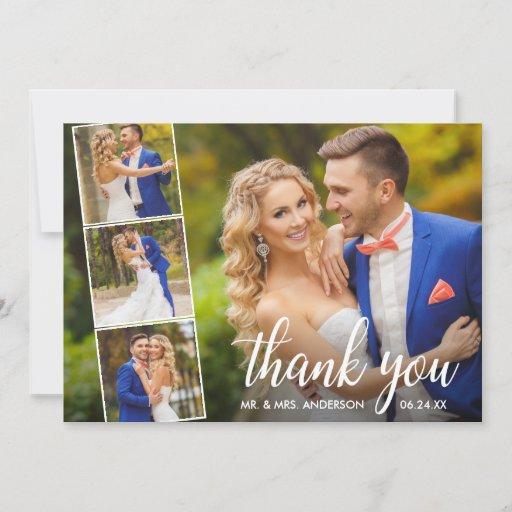 Modern Calligraphy Wedding 4 Photo Collage Thank You Card