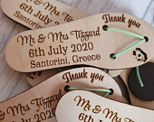 Flip flop save the date wedding decor beach themed favours wooden wedding favours personalised favors nautical wedding decor beach