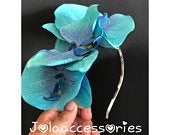 Turquoise see blue flower wedding fascinator wedding headband hair piece orchid races church fascinator bridal headpiece wedding hat