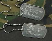 Stainless Steel US Army Dog Tag ID Set, Personalised Embossed with Chains and Optional Coloured Silencers