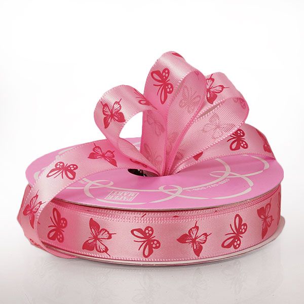 "5/8"" X 25 Yards Polyester Pink/Hot Pink Butterfly Satin Ribbon by Ribbons.com"